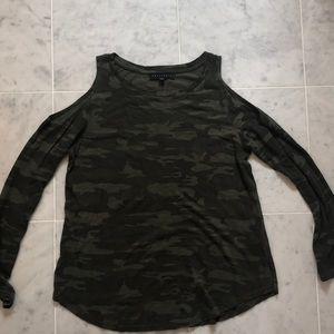 Sanctuary cold shoulder long sleeve shirt size s